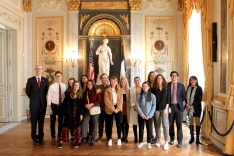 James Du Vernay '03 with Hamilton in France students
