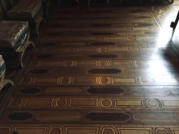 This wooden floor is made out of 14 different types of wood!
